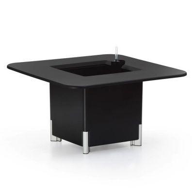 KIT Mediterráneo 45CN: Jardinière modulaire carrée noire 45h pieds aluminium + table carrée noire + seau à glace carré noir