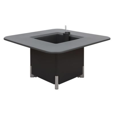 KIT Mediterráneo 45CA: Jardinière modulaire carrée anthracite 45h pieds aluminium + table carrée anthracite + seau à glace carré blanc
