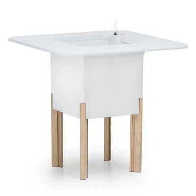 KIT Mediterráneo 75CB: Jardinière modulaire carrée blanche 75h pieds aluminium couleur bois + table carrée blanche + seau à glace carré blanc