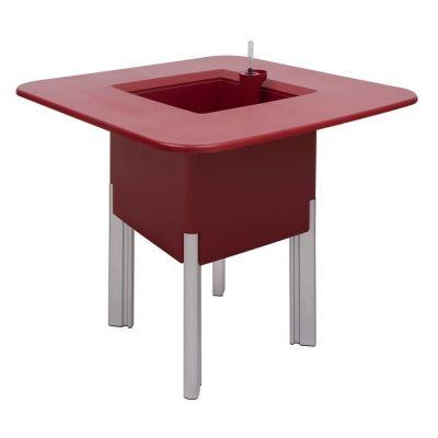 KIT Mediterráneo 75CR | Jardinera modular cuadrada roja 75h patas aluminio + mesa cuadrada roja + cubitera cuadrada negra
