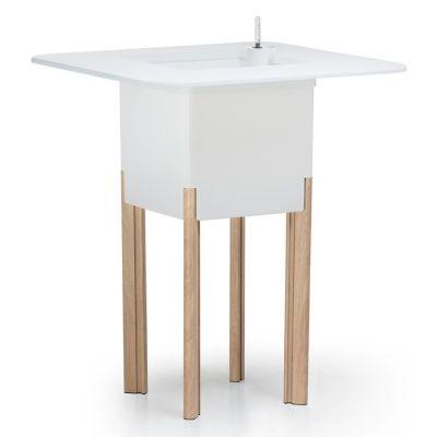 KIT Meditarréneo 95CB: Jardinera modular cuadrada blanca 95h patas aluminio color madera + mesa cuadrada blanca + cubitera cuadrada blanca