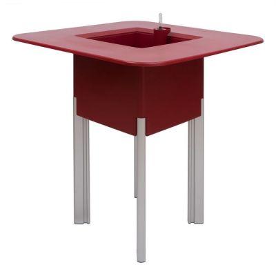 KIT Mediterráneo 95CR | Jardinera modular cuadrada roja 95h patas aluminio + mesa cuadrada roja + cubitera cuadrada negra