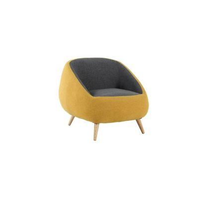 MARPE | Sillón con brazos tapizado bicolor mostaza/gris (83,5 x 82,5 x 75,5 cm)