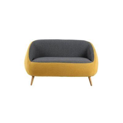 Canapé avec accoudoirs revêtement bicolore moutarde/gris (142,5 x 83,5 x 75,5 cm) | Série Marpe