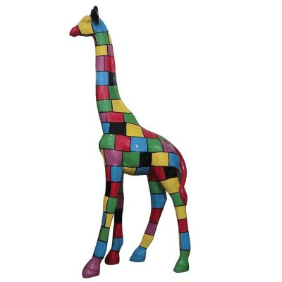 Girafe à carreaux multicolores | Série XL