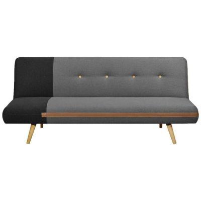 BICOL | Sofá cama tapizado bicolor negro/gris (186 x 87 x 79 cm)