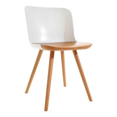 JAUNTI | Silla de madera de haya natural y policarbonato (55 x 46,5 x 77,5 cm)