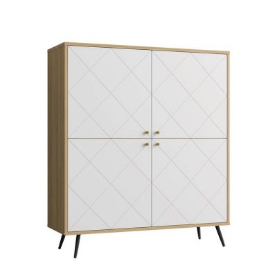 UKKO White | Aparador alto de 4 puertas (118 x 40 x 135 cm)