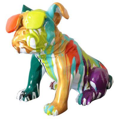 Serie ANIMALES M | BHARBO Bulldog multicolor sentado