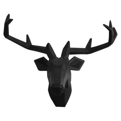 Serie ANIMALES S | Cabeza de ciervo negro acabado mate