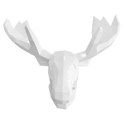 Serie ANIMALES S | Cabeza de reno blanco acabado mate