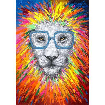 Serie ANIMALES | Cuadro abstracto león (140 x 100 cm)