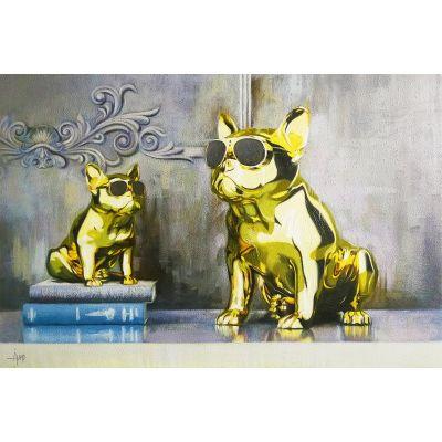 Serie ANIMALES | Cuadro bulldogs dorados (120 x 80 cm)
