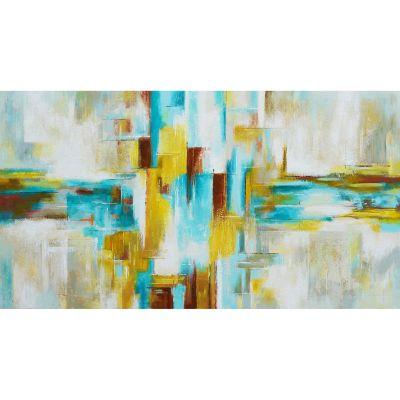 Serie ABSTRACTO | Cuadro abstracto turquesa (180 x 97 cm)