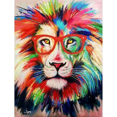 Serie ANIMALES   Cuadro abstracto león con gafas rojas (200 x 140 cm)
