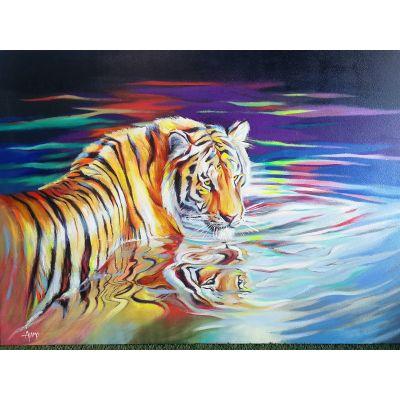Serie ANIMALES   Cuadro reflejo del tigre (140 x 100 cm)